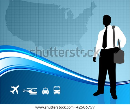Original Vector Illustration: Business traveler on US map background  AI8 compatible