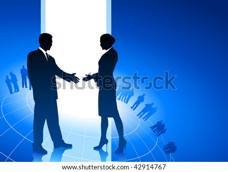 Original Vector Illustration: businessman and businesswoman shaking hands internet background AI8 compatible