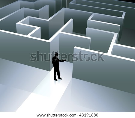 Original Vector Illustration: Businessman internet background with maze AI8 compatible