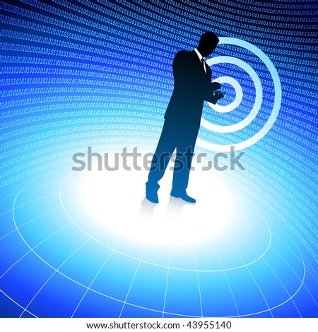 Original Vector Illustration: businessman on binary code background AI8 compatible