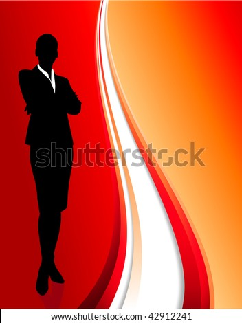 Original Vector Illustration: businesswoman on abstract red background  AI8 compatible - stock vector