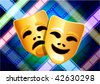 Original Vector Illustration: comedy and tragedy masks on multi color film reel background AI8 compatible - stock vector