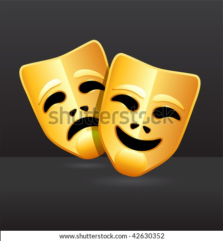 Original Vector Illustration: Comedy and tragedy theater masks AI8 compatible