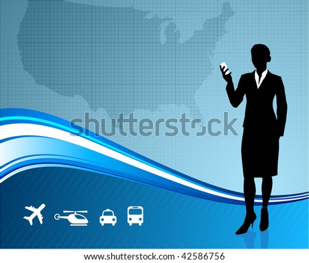 Original Vector Ilration Female Business Traveler On Us Map Background Ai8 Compatible