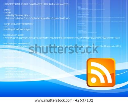 Original Vector Illustration: orange sound button on blue background AI8 compatible - stock vector