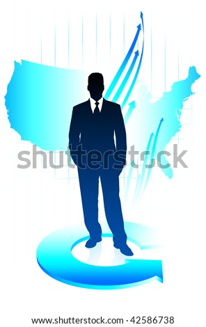 Original Vector Illustration: Young business man on US map background AI8 compatible