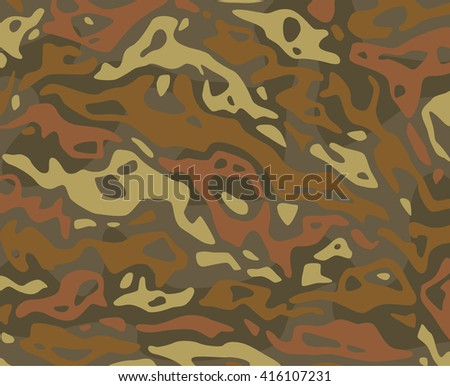 Original vector realistic camouflage pattern background editable pattern large size. Autumnal forest camouflage pattern green brown