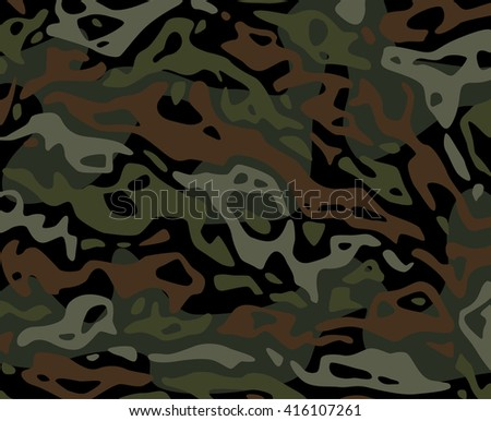 Original vector realistic camouflage pattern background editable pattern large size. Dark Woods woodland forest camouflage green