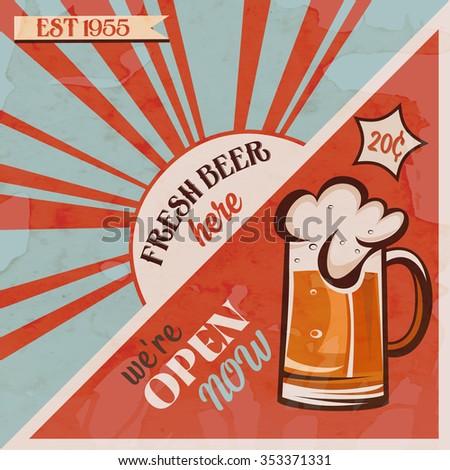 Original Vintage Beer Poster Vector Illustration Mug Retro Design Pub And