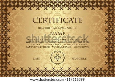 Original vintage frame with seamless wallpaper. Can be used as a diploma or certificate - stock vector