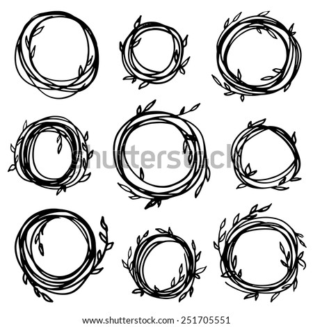 Original Vintage Frames Set 9 Hand Stock Vector 251705551 - Shutterstock