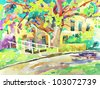 original watercolor painting by a tree. I am author of this illustration. Vector version - stock photo