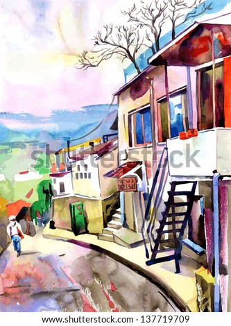 original watercolor painting on paper of old street in Gurzuf, Crimea, Ukraine, plein air painting, vector version - stock vector