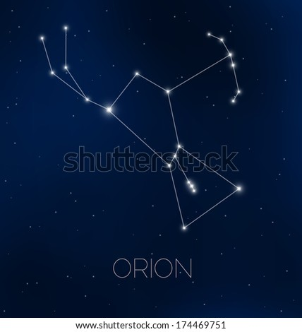Orion constellation in night sky - stock vector