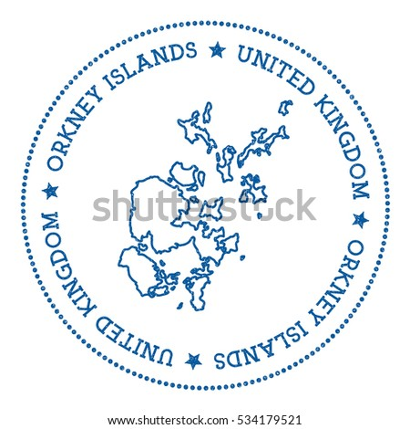 Orkney Islands vector map sticker. Hipster and retro style badge with Orkney Islands map. Minimalistic insignia with round dots border. Island map vector illustration.