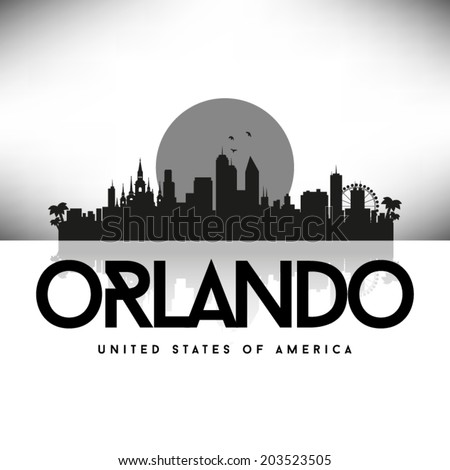 Orlando Florida Black skyline silhouette vector design. - stock vector