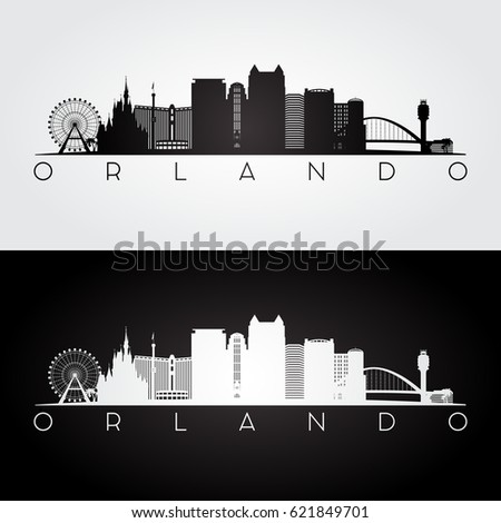 orlando skyline black and white. orlando usa skyline and landmarks silhouette black white design vector illustration