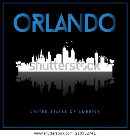 Orlando, USA skyline silhouette vector design on black background. - stock vector