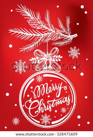 Ormate Christmas greeting card. Vintage card with Christmas ball on a Xmas tree branch. Isolated vector illustration.  - stock vector