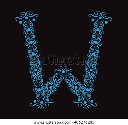 Ornament alphabet fonts neon letter W - stock vector