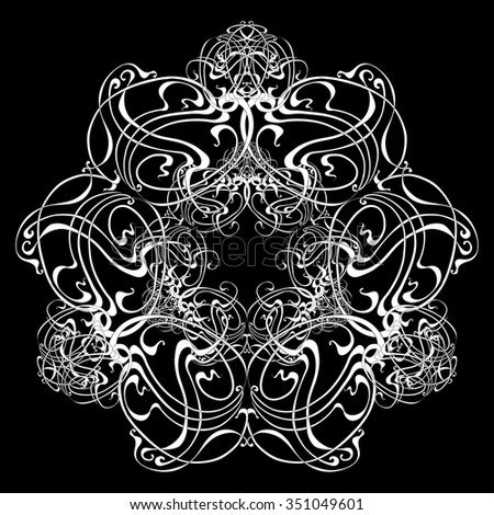 Ornament Art Nouveau White Card Round Stock Vector Royalty Free