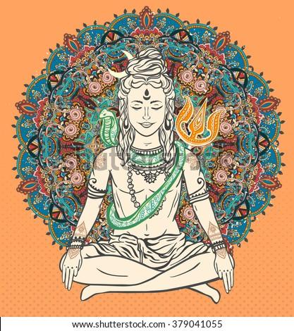 Ornament beautiful card with God Shiva. Illustration of Happy Maha Shivaratri. Mahashivaratri festival. Hinduism in India. Mediation, Shiva represents the cosmic consciousness, the masculine universe - stock vector