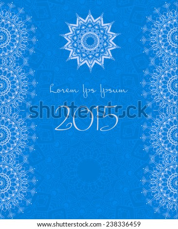Ornament beautiful card with mandala. Flake of snow made in vector. Perfect  cards for any other kind of design, birthday and other holiday, kaleidoscope,  medallion, yoga, india, arabic - stock vector