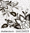 Ornament black and white with decorative elements of flowers, leaves, web, lace - stock