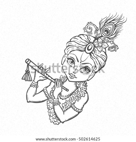 ornament card with lord shri krishna birthday illustration in vector art happy janmashtami day - Baby Krishna Images Coloring Pages