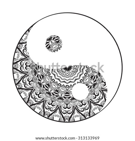 Ornament  card with mandala Yin Yang. Geometric circle element made in vector. Perfect  cards for any other kind of design, birthday and other holiday, kaleidoscope,  medallion, yoga, india, arabic - stock vector
