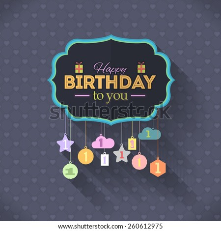 Ornament Elements Hanging Flat Happy Birthday Vector Design. Announcement and Celebration Message Card Age One - stock vector