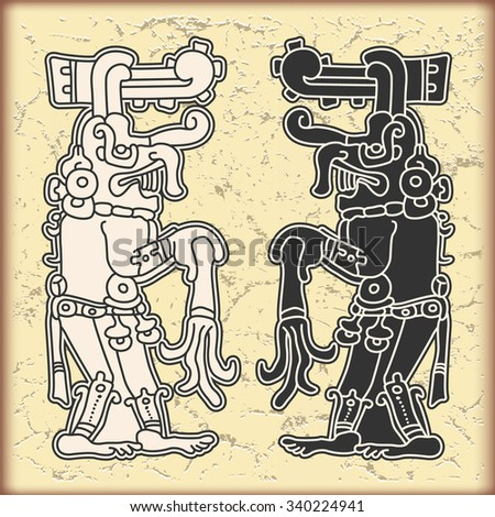 Ornament in style of the Maya - stock vector