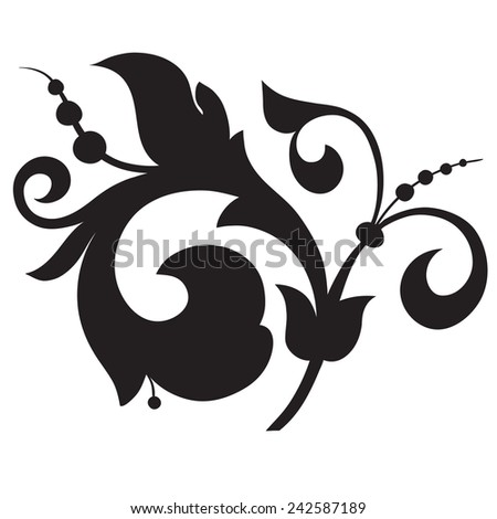 Ornament in Victorian style. Floral vector illustration. (black and white) - stock vector