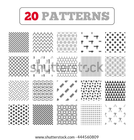 Ornament patterns, diagonal stripes and stars. Hairdresser icons. Scissors cut hair symbol. Comb hair with hairdryer sign. Geometric textures. Vector - stock vector