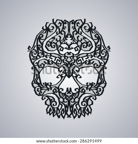 ornament skull art - stock vector