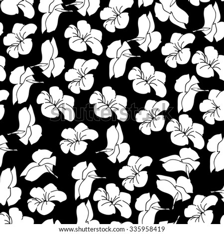 ornament vector. floral pattern. seamless. pattern textiles, fashion print. seamless beautiful flower, monochrome