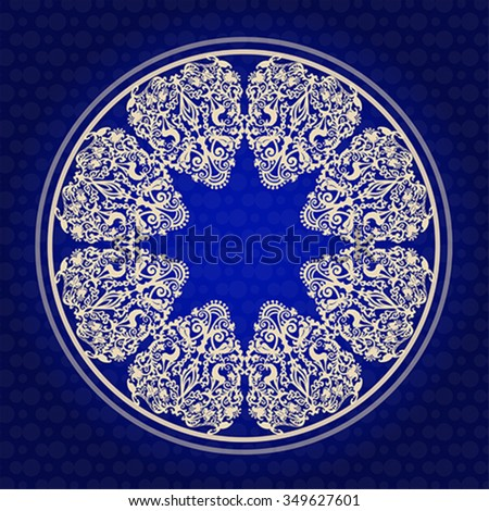 Ornament with animals and birds in form of Christmas snowflake. Symbol of life. Illustration, vector - stock vector