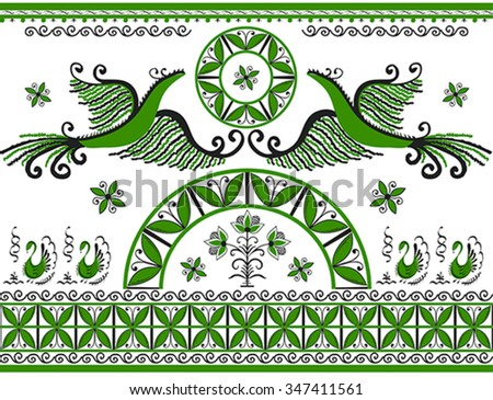 Ornament with decorative elements of cosmogonic traditional folk art of northern region of Russia. Mezensky green firebirds. Illustration, vector - stock vector