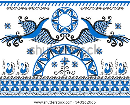 Ornament with decorative elements of cosmogonic traditional folk art of northern region of Russia. Mezensky blue firebirds. Illustration, vector - stock vector