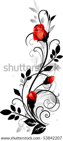 Ornament with roses - stock vector