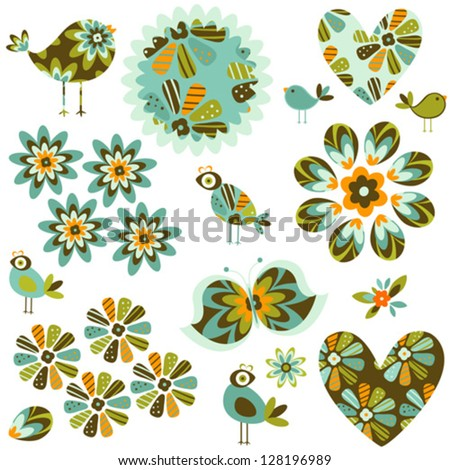 ornamental abstract flowers and birds