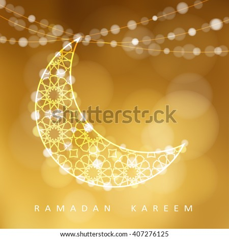 Ornamental arabic moon. Golden glitter festive background. Bokeh lights. Greeting card, invitation for muslim community holy month Ramadan Kareem. Vector illustration. - stock vector