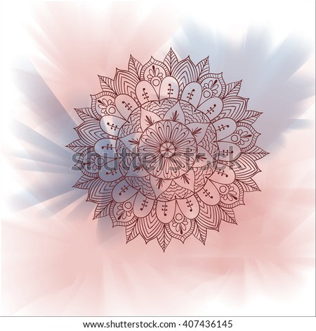 Ornamental ,Asian, Traditional  Vector Mandala on watercolor background .Zentangle - stock vector