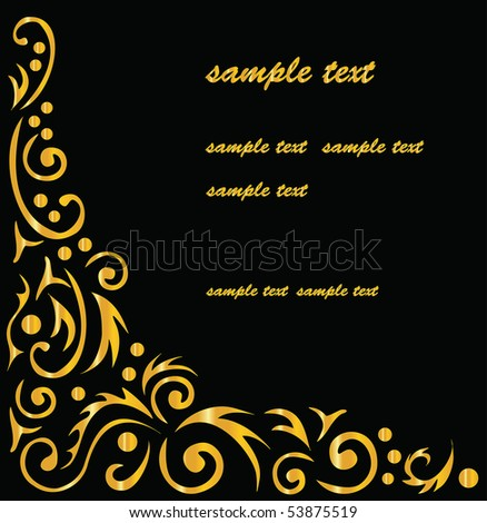 ornamental background, black and gold - stock vector