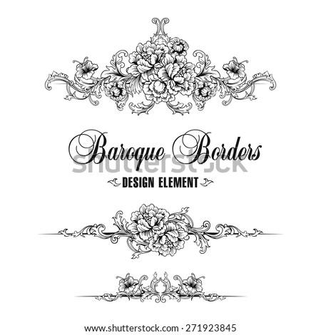 Ornamental border, frame. Baroque pattern. - stock vector