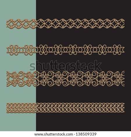 Ornamental chains, set of gold seamless borders, vector illustration - stock vector