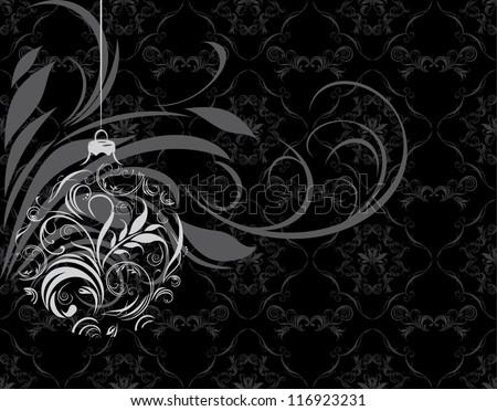 Ornamental Christmas ball on the black background. Vector - stock vector