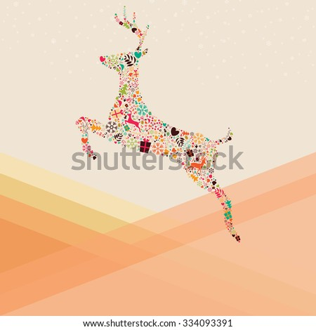 Ornamental Christmas reindeer and mountains, vector illustration - stock vector