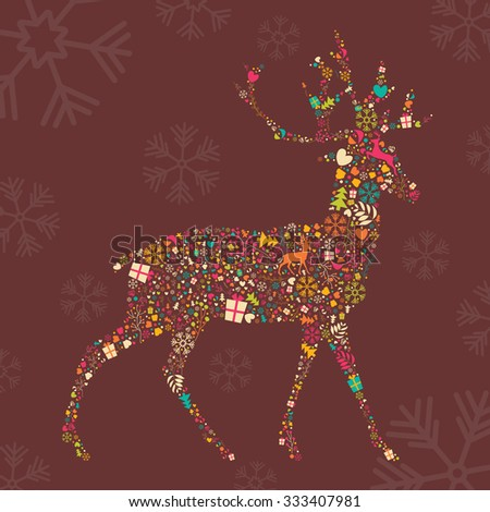 Ornamental Christmas reindeer with snowflakes, vector illustration - stock vector