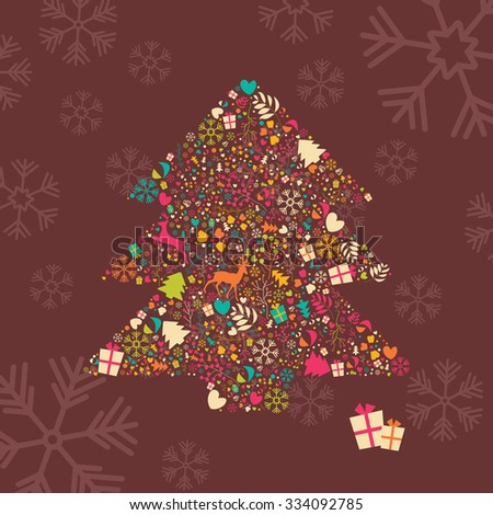 Ornamental Christmas tree with reindeer, gift boxes and snowflakes, vector illustration - stock vector